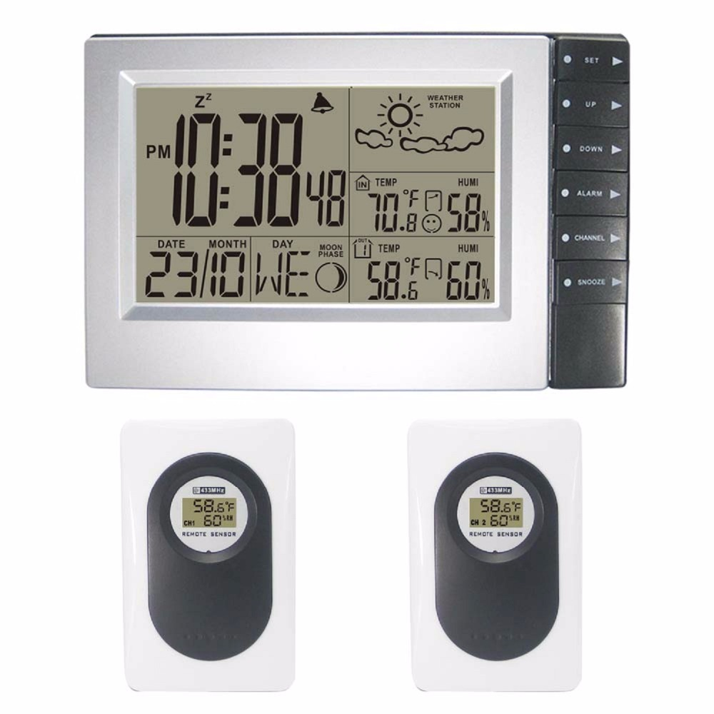 DYKIE Wireless Weather Station Digital Hygrometer Humidity Outdoor Sensor Thermometer Indoor Outdoor Wall Radio Controlled Clock все цены