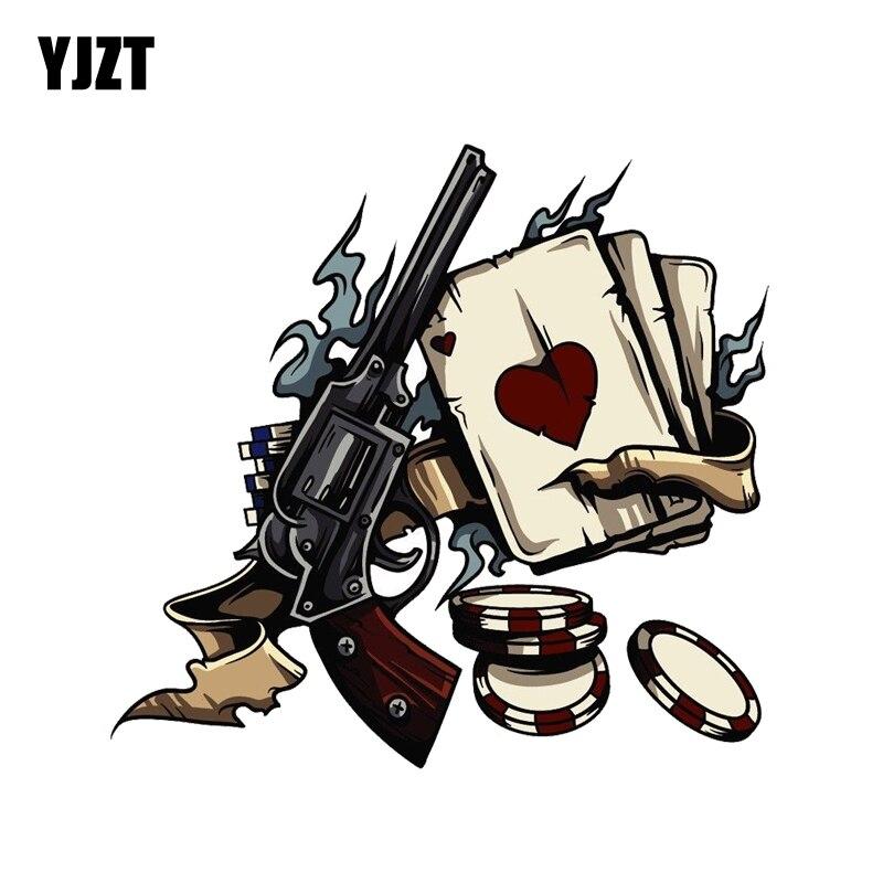 YJZT 15.2CM*14.4CM  Aces Poker Chips Gambling Decal PVC Motorcycle Car Sticker  11-00810