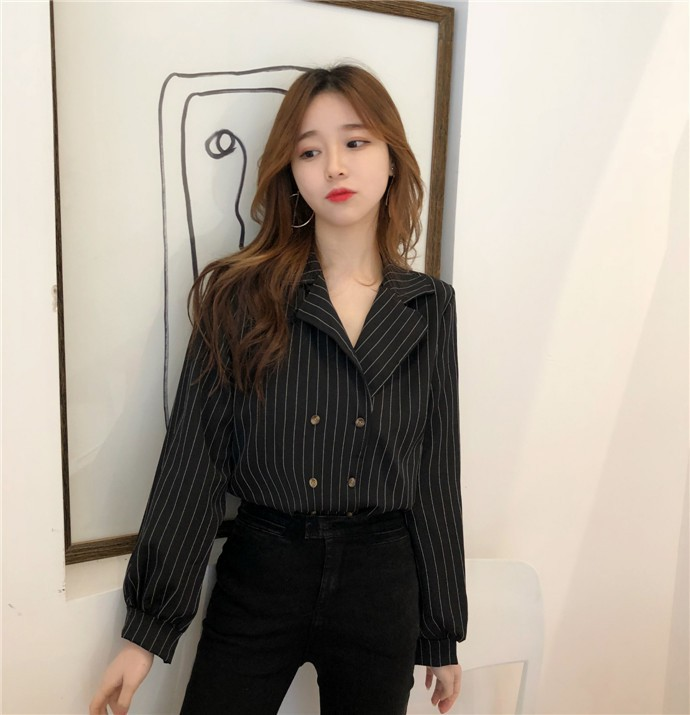 Shirts Women Simple Retro Striped All-match Double-breasted Korean Style Students Notched Womens Elegant Blouses Loose Chic 2019 15