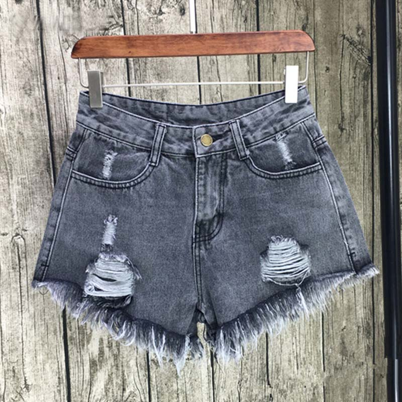 Kkillero 2017 Ripped Pocket Women Shorts Summer Casual Denim Shorts Vintage Hole Hot Shorts Denim For Women Plus Size S-6XL