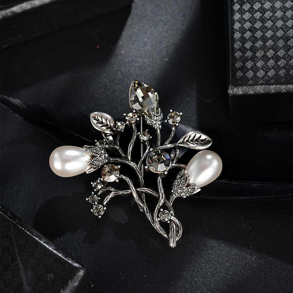 Viennois Gioelleria raffinata e alla moda Vintage Argento Colore Albero Spilla Spilli Per le donne Simulato Perla e Cristallo Spille
