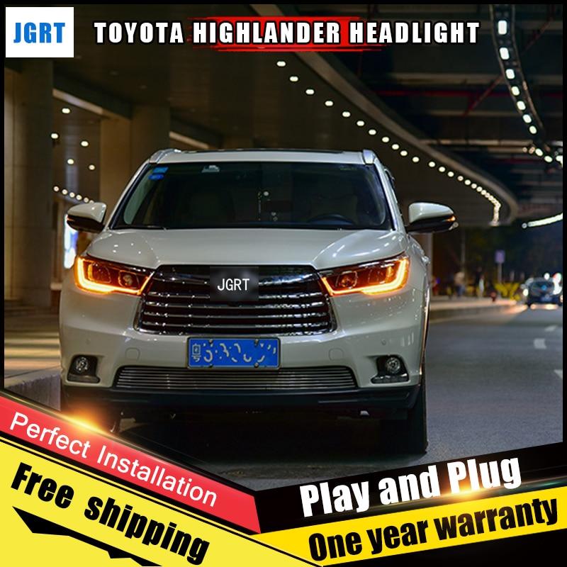 Car Style LED headlights for Toyota Highlander 15-16 for Highlande head lamp LED Lens Double Beam H7 HID Xenon bi xenon lens auto lighting style led head lamp for toyota yaris l led headlights 2014 2016 double u led hid kit bi xenon lens low beam
