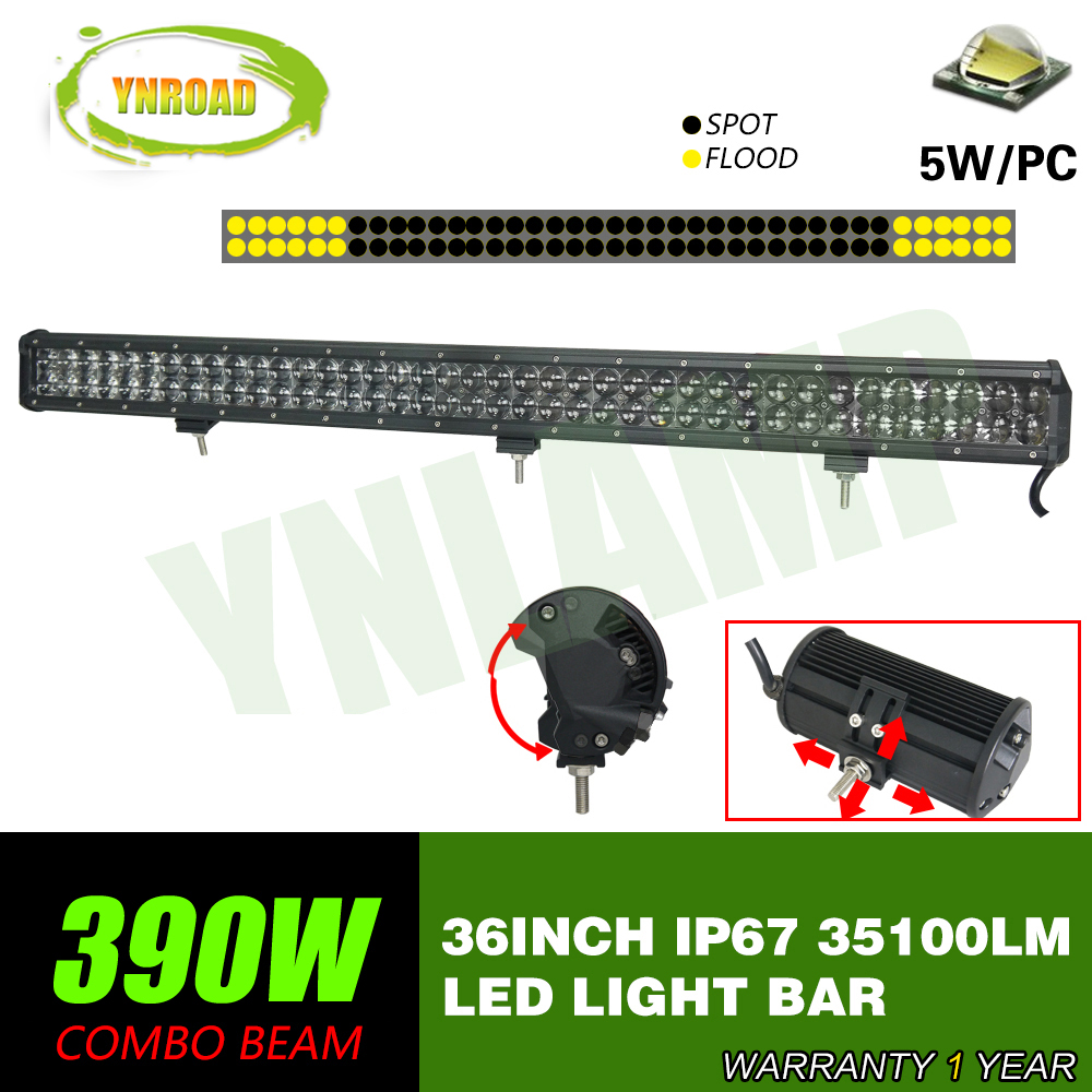 YNROAD 390w 36inch Led Light Bar 78x5W work light Driving Offroad Light Spot/flood/combo 4D optical lens 35100lm