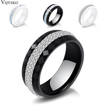 High Qulity Women Jewelry Ring Wholesale Black And White Simple Style Comly Crystal Ceramic Rings for Women(China)