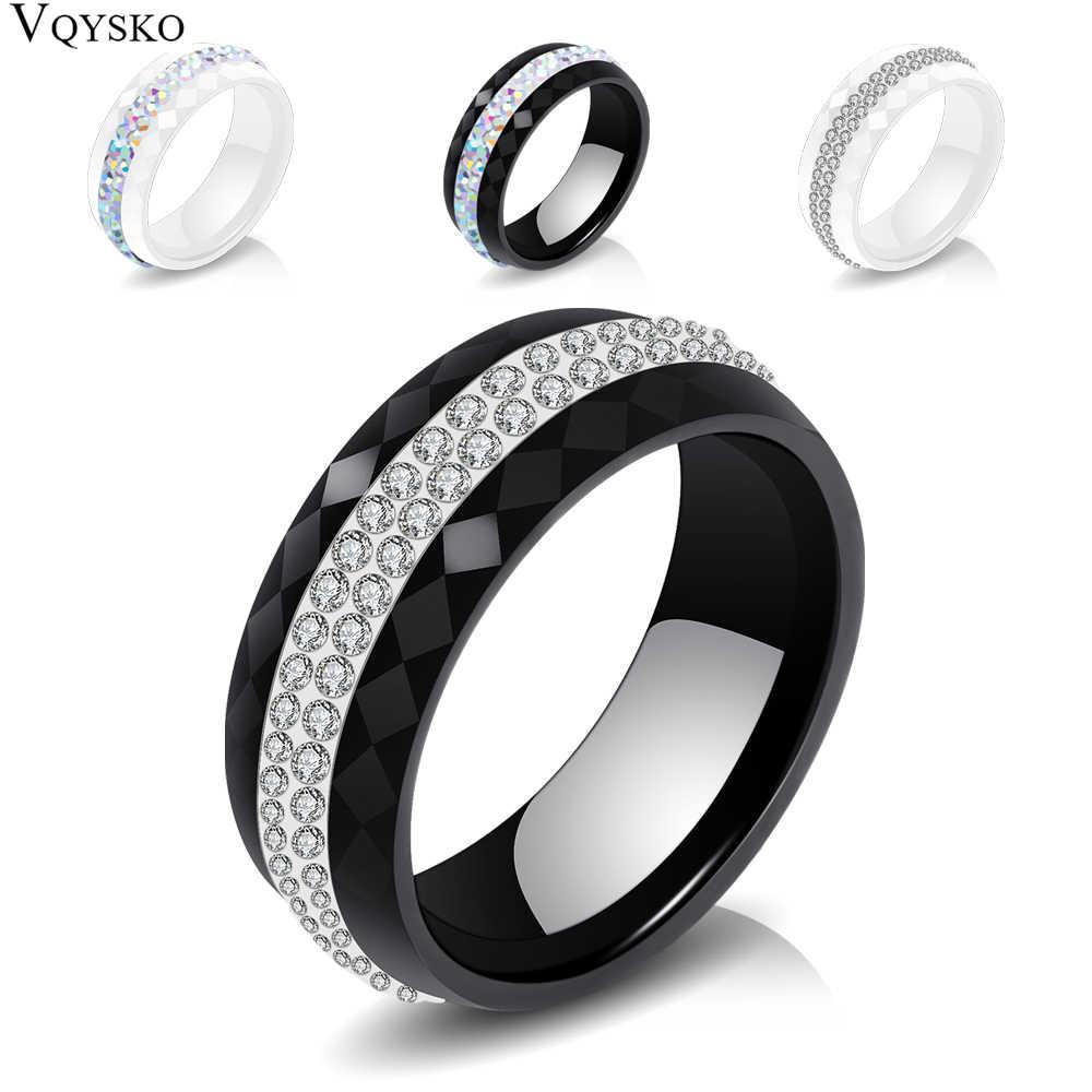 คุณภาพสูงผู้หญิงเครื่องประดับแหวนขายส่งสีดำและสีขาวสไตล์ Comly แหวนคริสตัลเซรามิคสำหรับสตรี