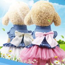 Забавная Одежда для собак джинсовое платье юбка для собак Одежда для маленьких собак кошка Весна Лето Удобная одежда