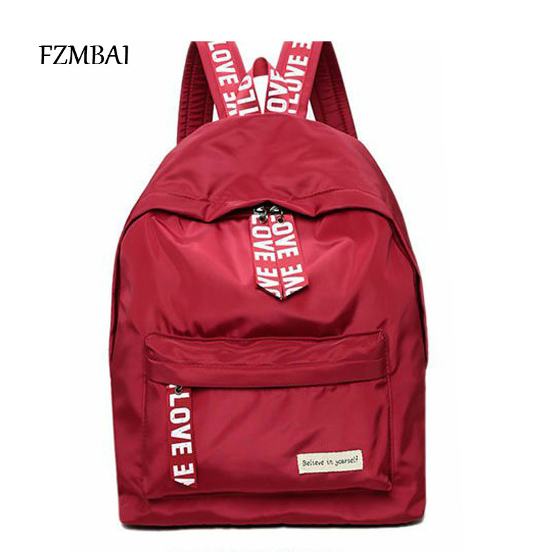 FZMBAI Ladies Leisure Candy Color All-match Canvas Backpack Students Large Capacity Travel Bags