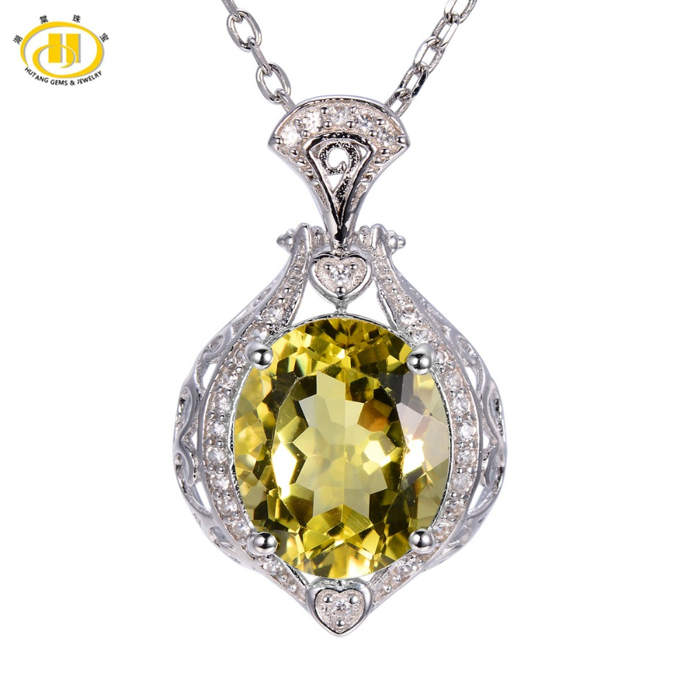 Hutang 4.88ct Natural Lemon Quartz Pendant Solid 925 Sterling Silver Necklace High Quality Luxury Fine Jewelry