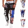 Moda de nova Impressão Digital Calças Bandeira Americana Impressa Homem Calças Calças de Lazer de fitness pantalon Harém Treino