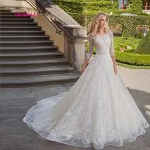 LEIYINXIANG Charming Appliques Long Sleeves A-Line Wedding Dress Fashion Scoop Neck Zipper Princess Bridal Gown Vestido de Noiva