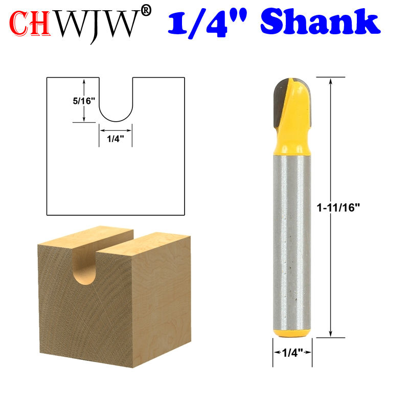 1pc 1/4 Shank Core Box Router Bit - 1/4W X 5/16H For Woodworking Cutting Tool 1 4 x 3 8 cutting core box router bit tool blue silver tone
