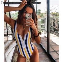 2019 Striped One Piece Swimwear Women Swimsuit Sexy Monokini Padded Swim Suit Retro Bodysuit Bathing Suit