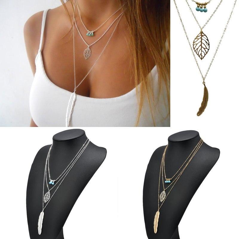 Fashion  Necklaces Leaf Long Pendant Necklaces Women 3 Layer Chain Necklace  Bib Pendant Chain Jewelry