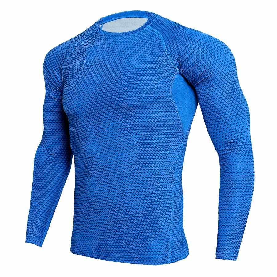 Rajstopy uciskowe do biegania z długim rękawem mężczyźni koszula budowy ciała bluzy siłownia strój sportowy fitness szybkie suche MMA Rashguard ubrania