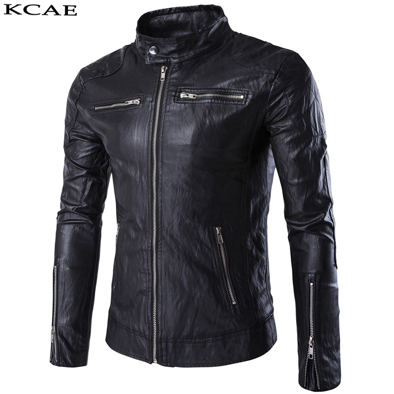 2017 New Men's Leather Jacket Faux Fur PU Motorcycle Biker Fashion Plus Size M-5XL
