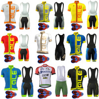 2017 Pro Team Ale Cycling Jersey Bicycle Clothing Short Sleeve Shirt 9D Pad Bib Shorts Set