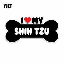 YJZT 15*7.1CM I kalp benim Shih Tzu köpek kemik PVC araba tampon araba Sticker çıkartmaları C1-4159