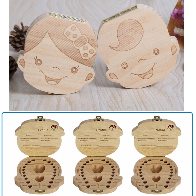 Baby Girl Boy Milk Teeth Box Wood Storage Organizer English Spanish German French Child Tooth Save Holder Casket For Children