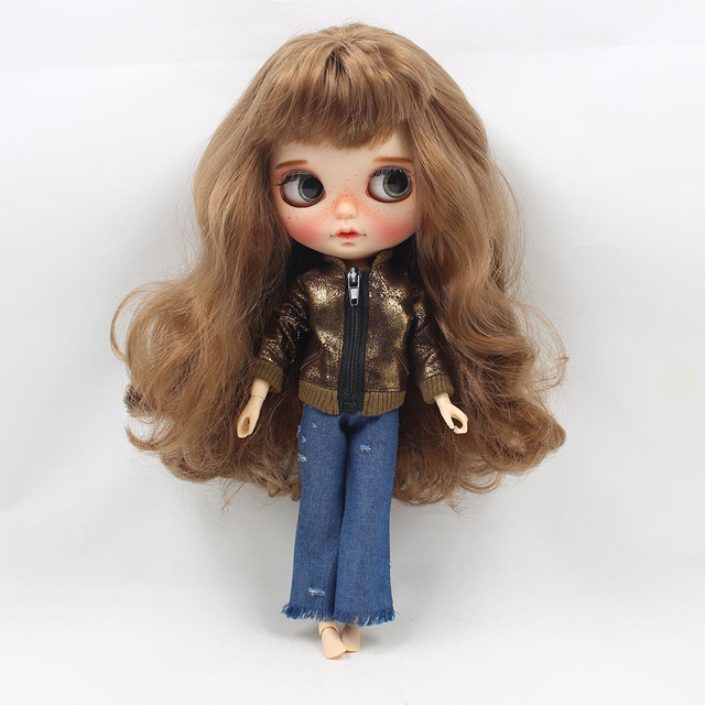 Neo Blythe Doll Brown Coat With Cowboy Pants