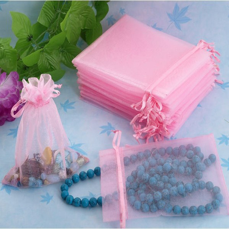 Low Budget Wedding Gifts: 100pcs 7x9cm Pink Organza Jewelry Gift Bags Small