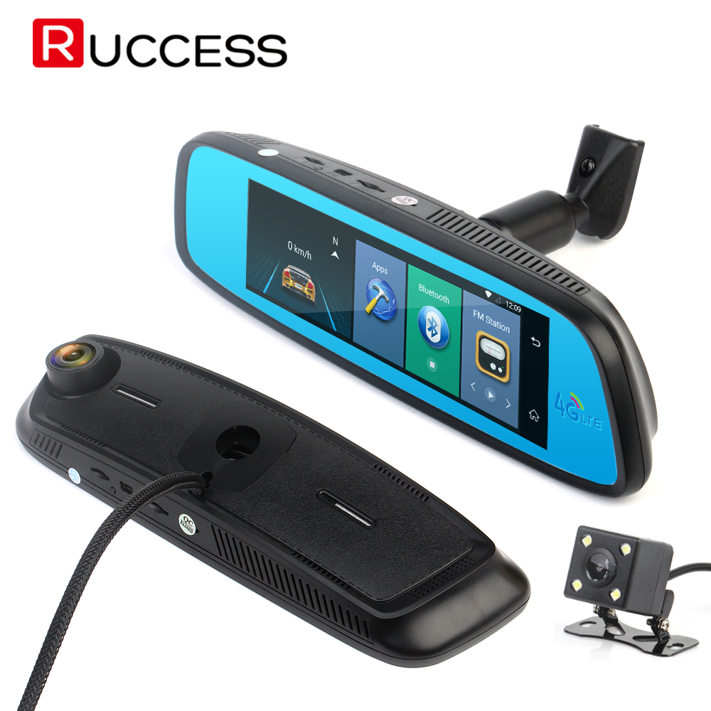 RUCCESS Dash Camera GPS Mirror DVR 4G Android Rearview Mirror Camera Dual Lens Bluetooth Navigation Wifi Night Vision DVRS