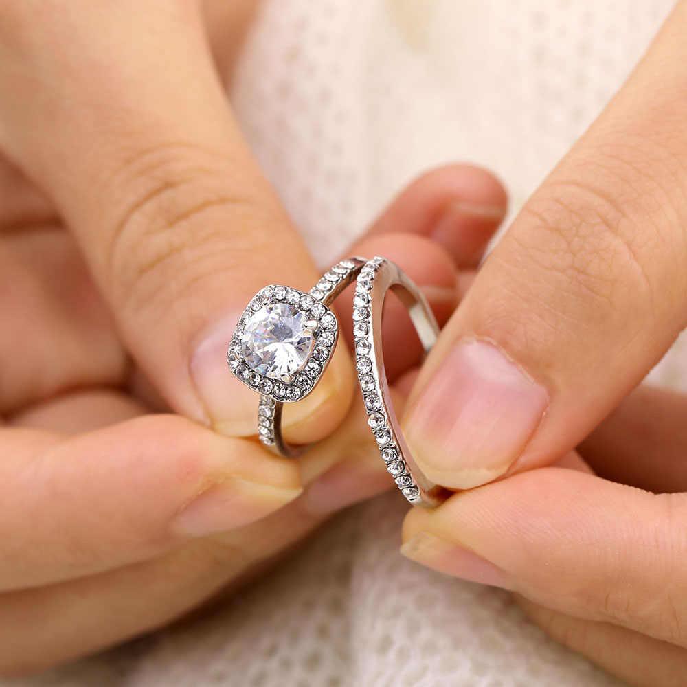 17IF модные обручальные кольца с цирконием и кристаллами для женщин и девочек, набор серебряных обручальных колец для влюбленных, свадебные ювелирные изделия, подарок для вечеринки 2019