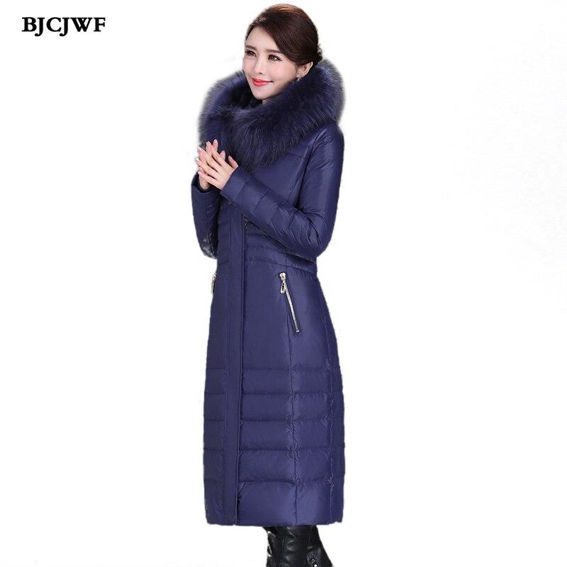 Long down jacket Women Russia Luxury Raccoon fur collar Hooded Brand White Duck Down Parka Top Quality doudoune femme Plus Size