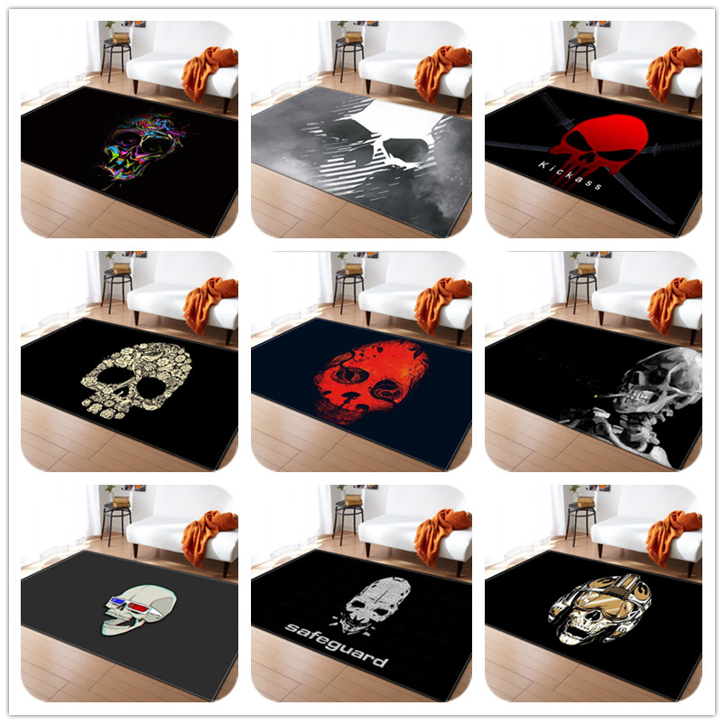 many paragraph Skull Print Carpet for Living Room Bedroom Soft Carpets Bathroom Floor Door mat Home