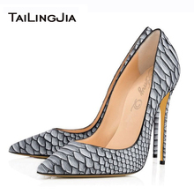 Women Sexy Party Shoes Grey Python Pointed Toe High Heel Pumps White Snake Pattern Wedding Heels Slip On Stiletto Court Shoes