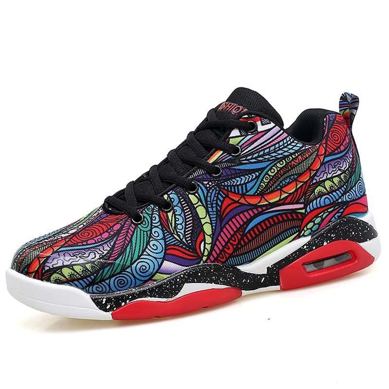 PU cuir chaussures hommes décontractées à la mode femmes coussin d'air basket-ball chaussures de course en plein Air coloré dessin animé photo taille 40-47