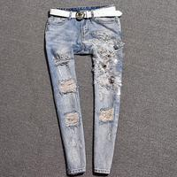 New Fashion Jeans Women Pencil Pants hole Embroidered Bead Jeans Slim Elastic Skinny Lady Jeans