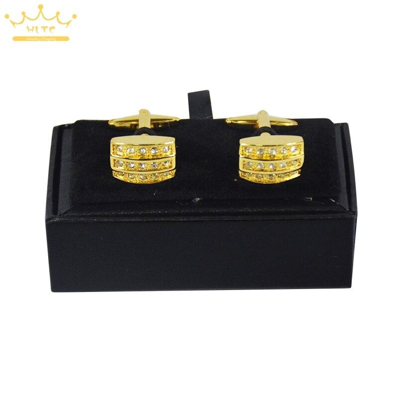 Высокое качество 60 шт. черная искусственная кожа мужские ювелирные запонки коробка подарок набор контейнеров для хранения манжета ссылка дисплей коробка держатель