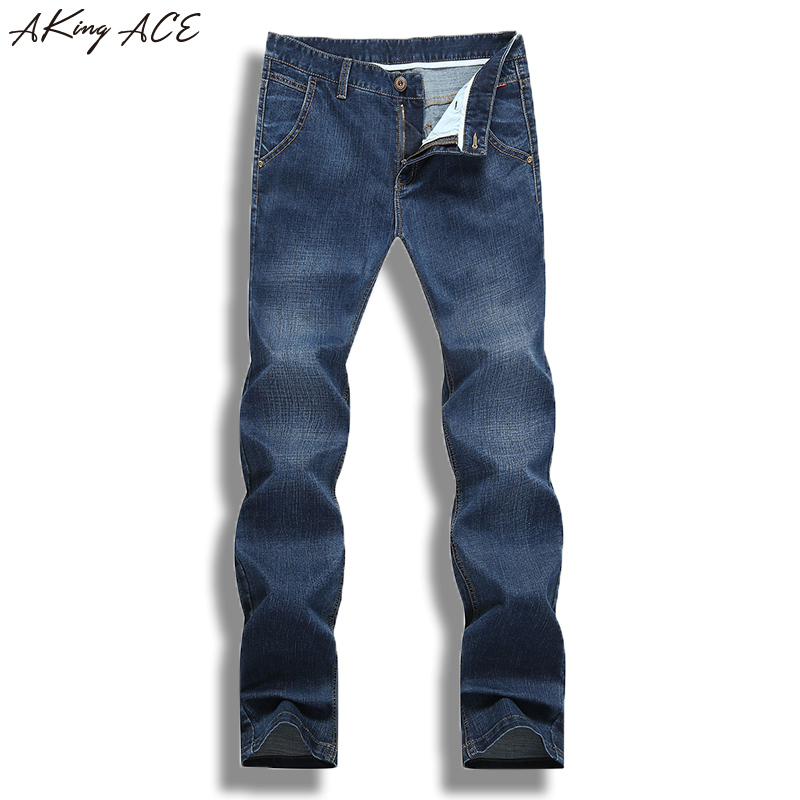 2017 Mens Casual Jeans Denim Pants Brand Blue Jeans Stylish Trousers Jeans Men Straight Pockets plus size 40 42 AKing ACE A318 2017 new designer korea men s jeans slim fit classic denim jeans pants straight trousers leg blue big size 30 34