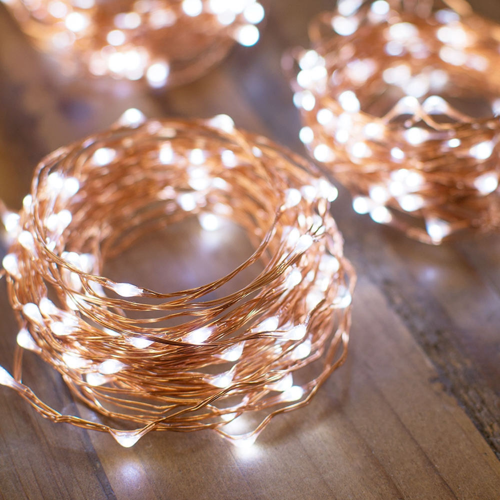 10.3M 34ft long 100 led Battery Operated string lights Copper Wire Fairy Lights string for Party Holiday Christmas Decoration-in LED String from Lights ... & 10.3M 34ft long 100 led Battery Operated string lights Copper Wire ...