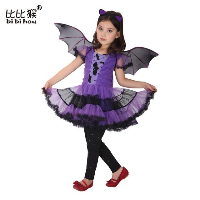 Хэллоуин Косплей Девушки Одеваются детские Бат день рождения новый год костюм дети танец одежда малышей рождество костюм 4-12 Т