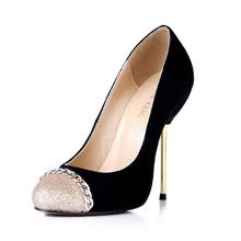 2016 New Arrivals Big size 35-43 Fashion High Heel Shoe Women Pumps Red Bottom Wedding Prom Suede Chain Party 3845-c1