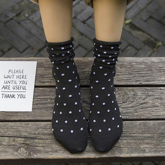 Dot Socks Harajuku Japanese Style Korean Street Style Bohemian 2018 Women Fall Fashion Kawaii Socks Fuzzy Socks Mid Tube Socks 2