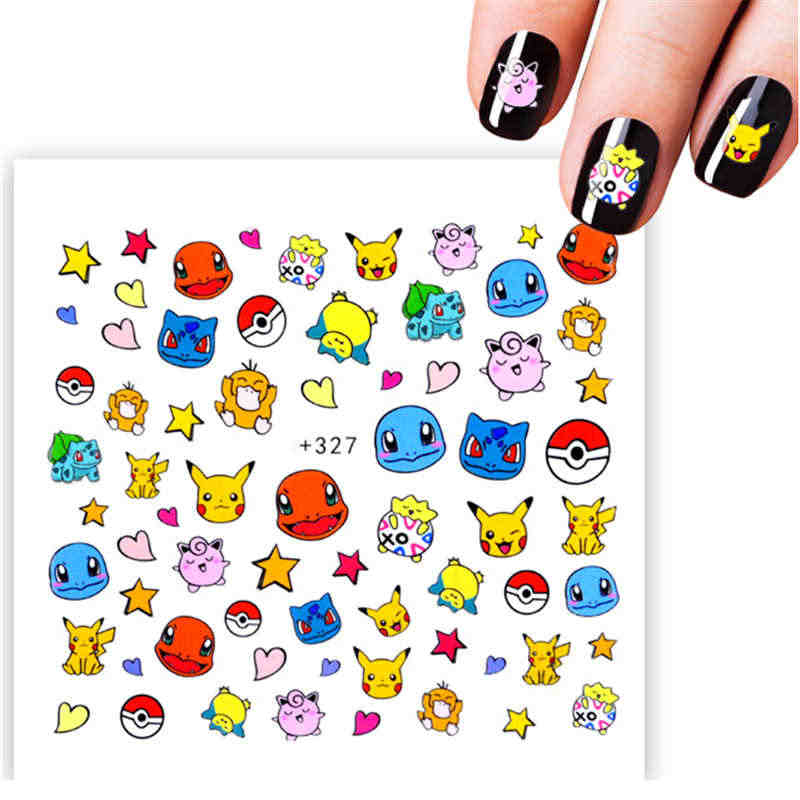 Pikachu Cartoon Design Water Decal Nail Art Decorations Stickers On Nails Inscriptions Transfer Decals Nail Art Sticker