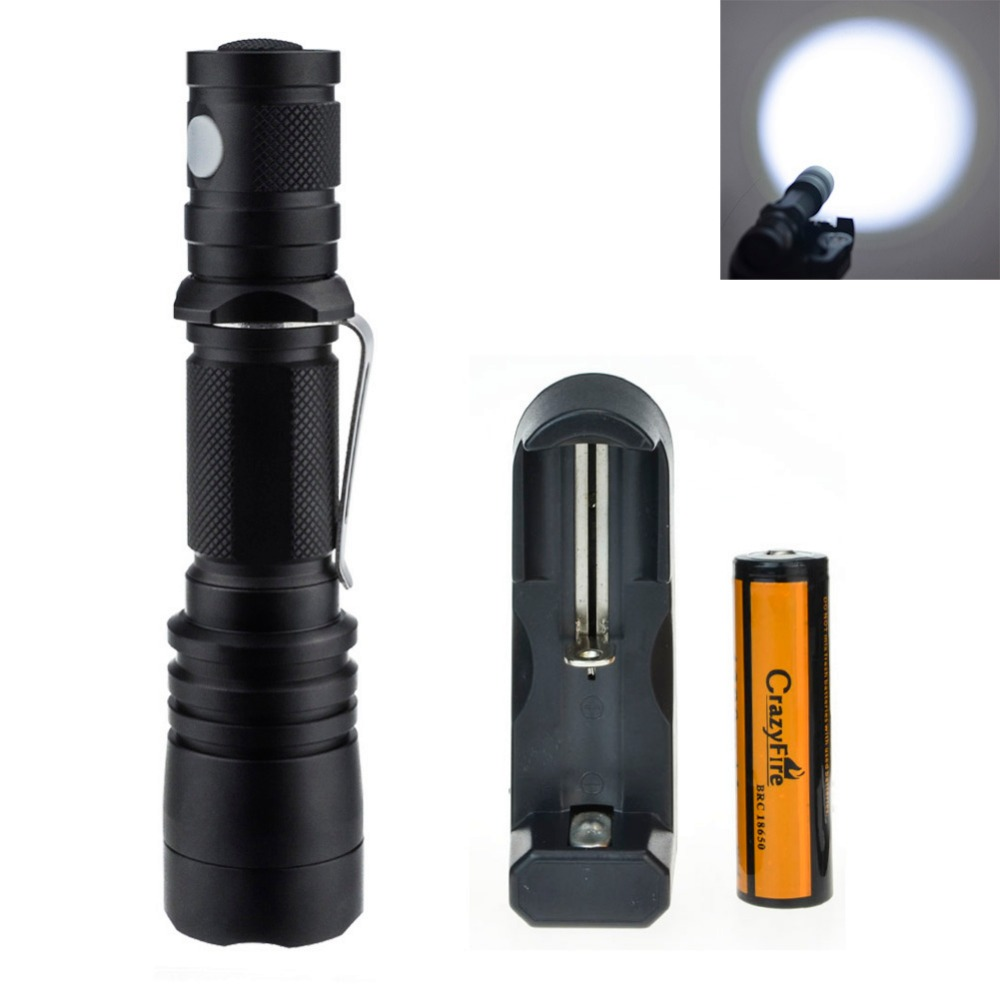 CREE XM-L L2 Led Tactical Flashlight Waterproof  Pen Light 2000 Lumens LED Torch For Camping Hiking + Rechargeable 18650+Charger jetbeam c8 rechargeable led flashlight torch 1000 lumens cree xm l2 for outdoor search sescue hiking camping with 18650 charger