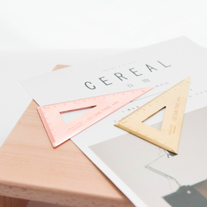 Image 3 - 3pcs/set Triangle Ruler Set Metal Stationery Protractor Ruler Office School Squares Protractor