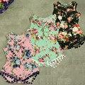 Новое поступление акции девочки малышей упругие вязание хлопок боди урожай цветочные новорожденных детские костюмы на новый год