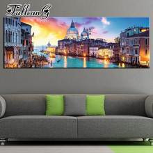 FULLCANG full square/round drill diy large diamond painting seaside city sunset 5d mosaic embroidery sale cross stitch FC449