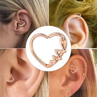 BODY PUNK Heart Shaped Waves Left Closure Daith Cartilage Earring Wholesale Surgical Stainless Steel Barbell Tragus