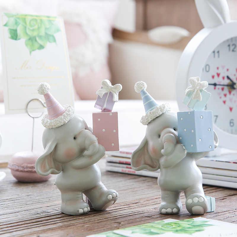 Miz 1 Par Casa Acessórios de Decoração Figura Animal Festivial Presente de Aniversário Decoração de Festa para Crianças Bonito Elefante Estátua