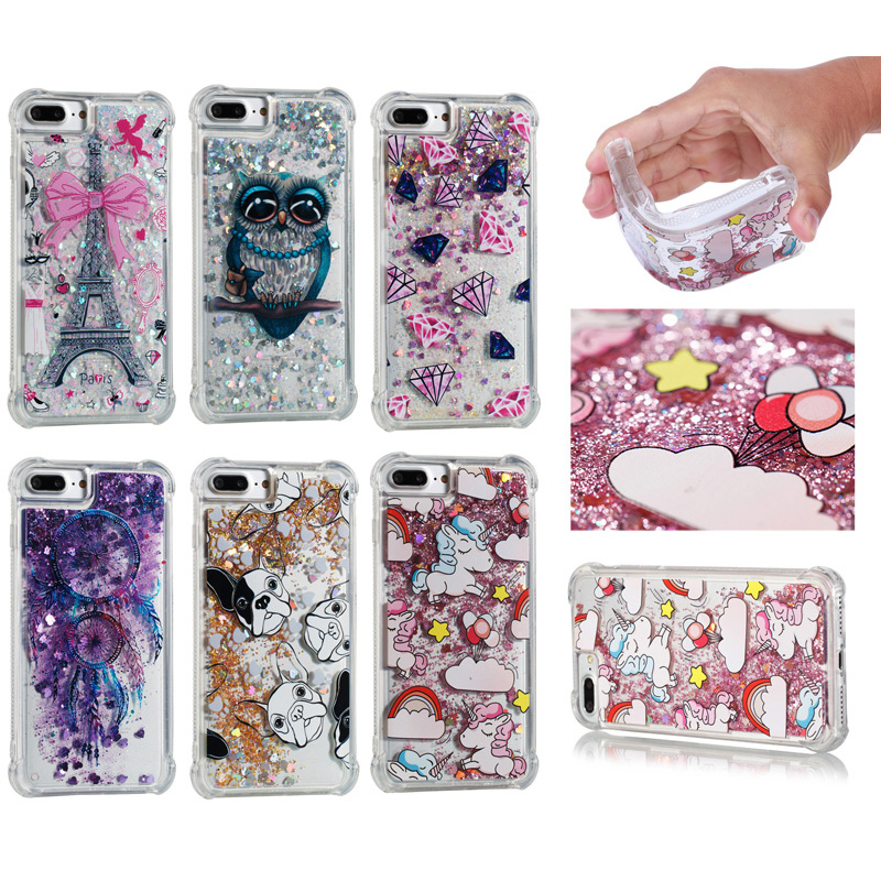Glitter Quicksand Soft TPU Silicone Phone Case Cover Shell Coque for Apple iPhone 5 5S SE 6 6S 7 8 Plus X for iPod Touch 5 6