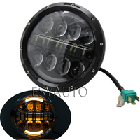 1PCS Amber LED Round 7 Motorcycle Headlight With Turn Signal For Harley Chopper Cafe Racer Bobber