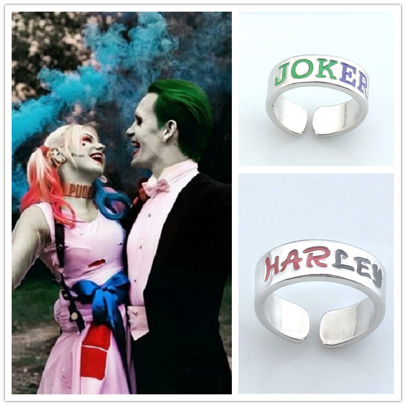 <font><b>Suicide</b></font> Squad Harley Quinn Cosplay Props Joker Engraving Couple Titanium Steel Adjustable Rings image
