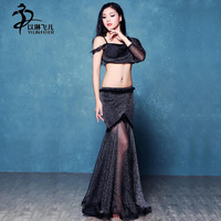 High End Bellydance Costumes Sexy Perspective Belly Tops Skirt Women Costume For Belly Dance Black Belly