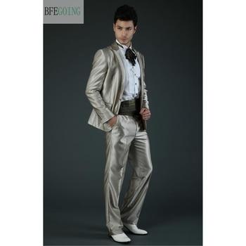 Regular  Bridegroom Satin Tuxedos Single Breasted  Groom Suit+ Vest +Pants +Tie  For Wedding /Evening Party