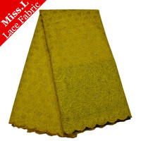 Best african lace yellow high quality french lace fabric 2017 African organza lace fabric for nigerian lace 100% cotton wedding